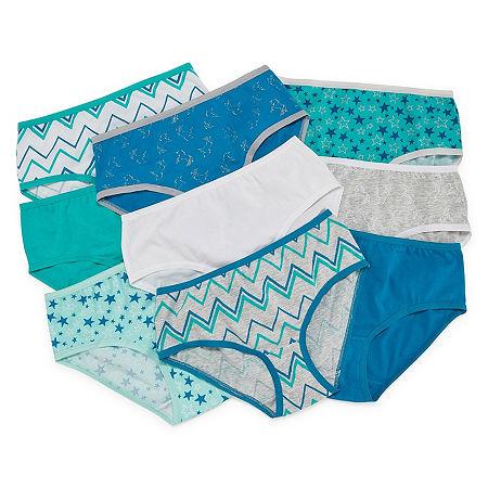 Arizona Girls 9 Pack Brief Panty, 10 , Blue