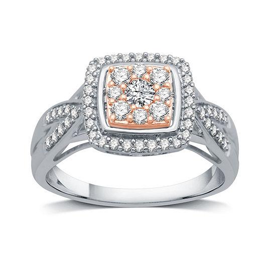 Diamond Blossom Womens 1/2 CT. T.W. Genuine White Diamond 10K Two Tone Gold Cocktail Ring