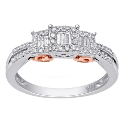 Hallmark Diamonds Womens 1/3 CT. T.W. White Diamond Gold Over Silver Cocktail Ring