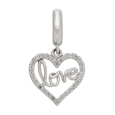 Ps Personal Style White Sapphire Sterling Silver Heart Charm