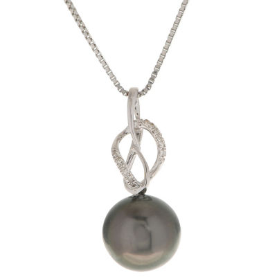 Womens Diamond Accent Black Pearl 14K Gold Pendant Necklace