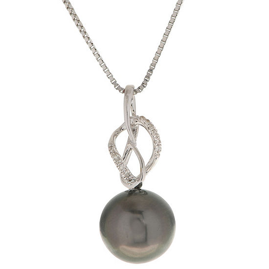 Womens Diamond Accent Black Cultured Tahitian Pearl 14K White Gold Pendant Necklace