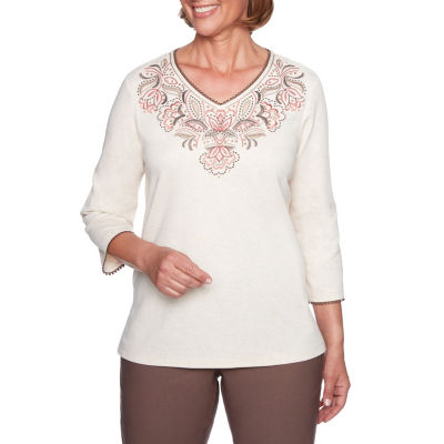 Alfred Dunner Sunset Canyon-Womens V Neck 3/4 Sleeve T-Shirt