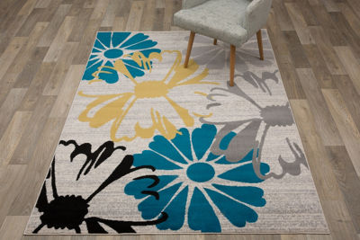 World Rug Gallery Contemporary Modern Large FloralFlowers Area Rug