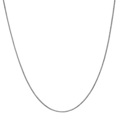 14K White Gold Solid Box 16 Inch Chain Necklace