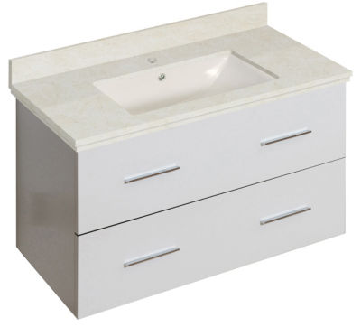 36-in. W Wall Mount White Vanity Set For 1 Hole Drilling Beige Top Biscuit UM Sink