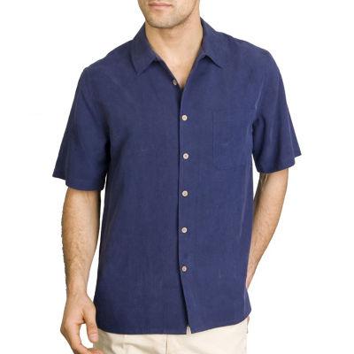 Sandals Cay Men's Night Blue Tonal Leaf Silk Camp Shirt
