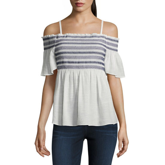 by&by Short Sleeve Boat Neck Gauze Blouse-Juniors