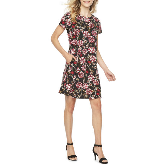 Alyx Short Sleeve Floral Puff Print Shift Dress