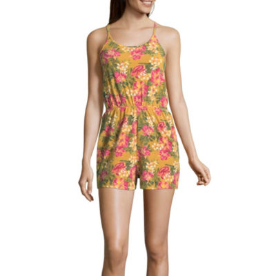 Almost Famous Sleeveless Belted Romper-Juniors