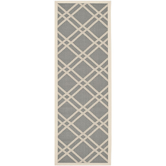 Safavieh Courtyard Collection Hannah Geometric Indoor Outdoor Runner Rug