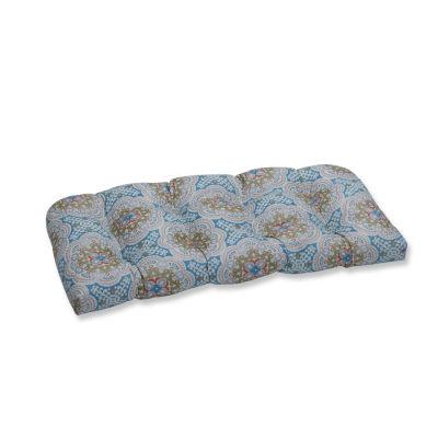 Pillow Perfect Astrid Aqua Wicker Patio Loveseat Cushion