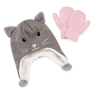 Capelli of N.Y. 2pc Hat and Mitten Set-Big Girls