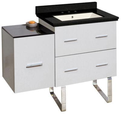 37.75-in. W Floor Mount White Vanity Set For 3H8-in. Drilling Black Galaxy Top Biscuit UM Sink