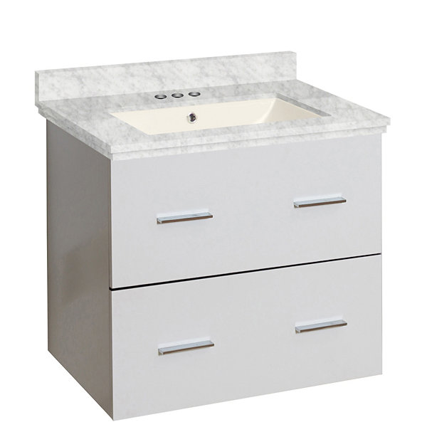 23.75-in. W Wall Mount White Vanity Set For 3H4-in. Drilling Bianca Carara Top Biscuit UM Sink