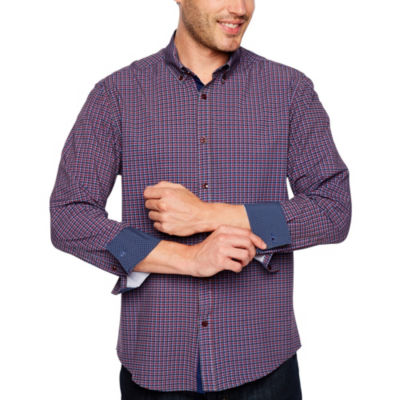 Society Of Threads 4 Way Stretch Long Sleeve Button-Down Shirt