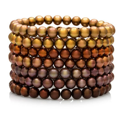 Dyed Chocolate Freshwater Pearl 7-pc. Stretch Bracelet Set