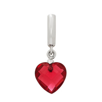 PS Personal Style Simulated Garnet Sterling Silver Heart Charm