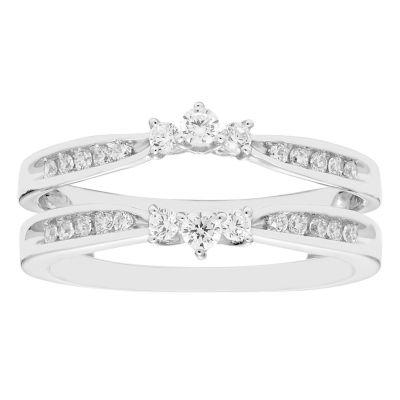 Womens 3/8 CT. T.W. Genuine White Diamond 14K Gold Ring Enhancer