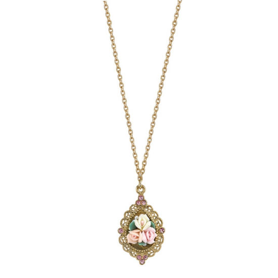 1928 Vintage Inspirations Womens Brass Flower Pendant Necklace