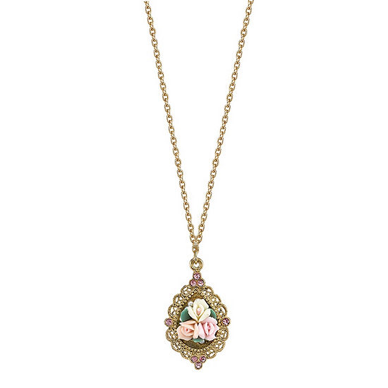 1928 Vintage Inspirations 16 Inch Link Flower Pendant Necklace