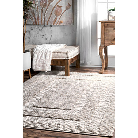 nuLoom Mosby Border Texture Area Rug, One Size , Beige