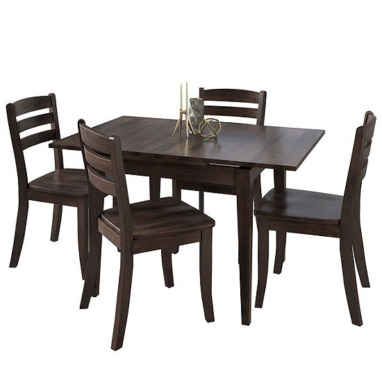 CorLiving Dillon 5pc Extendable Rectangular Stained Solid Wood Dining Set