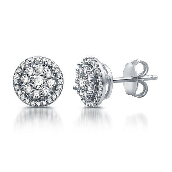 Diamond Blossom 1/2 CT. T.W. Genuine White Diamond 10K White Gold 8.6mm Stud Earrings