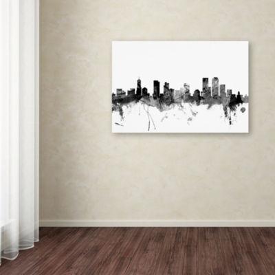 Trademark Fine Art Michael Tompsett Denver Colorado Skyline B&W Giclee Canvas Art