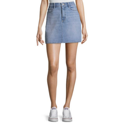 Arizona Hot Look Womens Mid Rise Midi Denim Skirt-Juniors