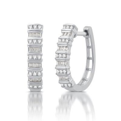 1/2 CT. T.W. GENUINE White Diamond 10K GOLD Hoop Earrings