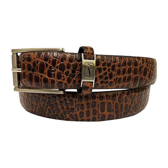 Pga Tour Mens Croco Print Belt With Nickle Finish Buckle