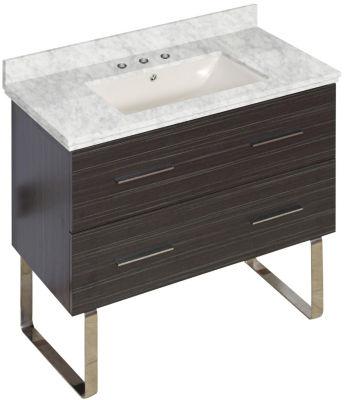 36-in. W Floor Mount Dawn Grey Vanity Set For 3H8-in. Drilling Bianca Carara Top Biscuit UM Sink