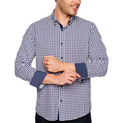 Society Of Threads Long Sleeve Gingham Button-Front Shirt