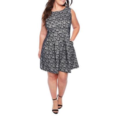 Danny & Nicole Sleeveless Geometric Fit & Flare Dress-Plus