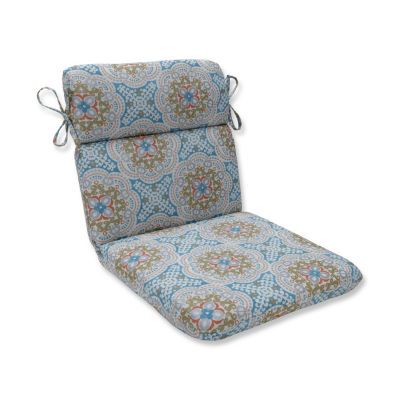 Pillow Perfect Astrid Aqua Rounded Corners Patio Chair Cushion