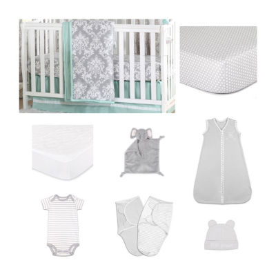 The Peanut Shell Minted Damask Crib Bedding Set