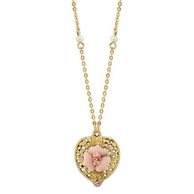 1928 Vintage Inspirations Womens Brass Flower Pendant Necklace