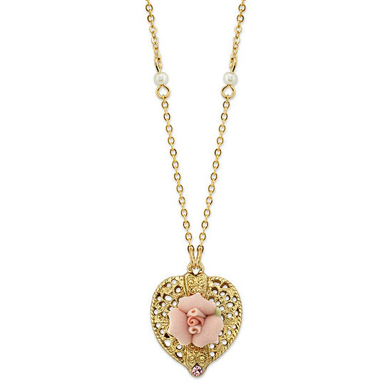1928 Vintage Inspirations 16 Inch Link Flower Pendant Necklace