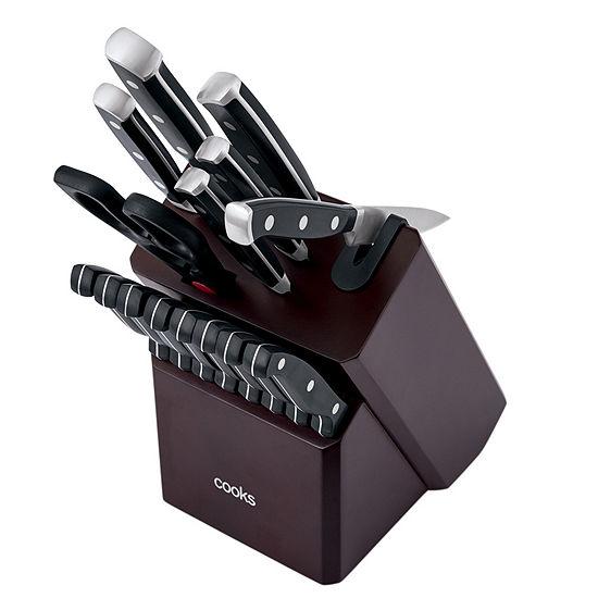 Cooks 16-pc. Block Triple Rivet Knife Set