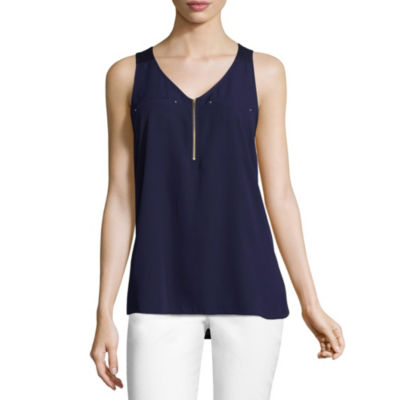 by&by Sleeveless V Neck Crepe Blouse-Juniors