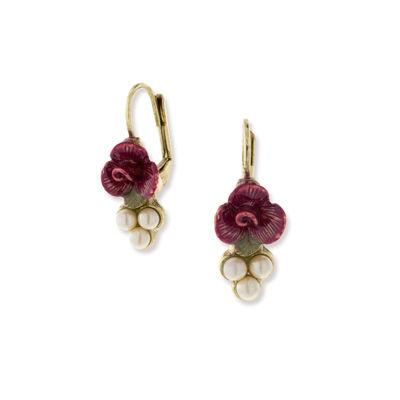 1928 Vintage Inspirations White Brass Flower Drop Earrings