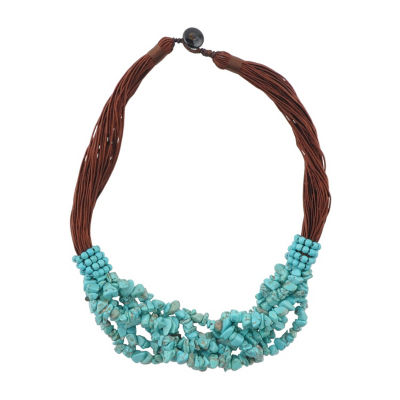 Artsmith By Barse Womens Genuine Blue Beaded Necklace
