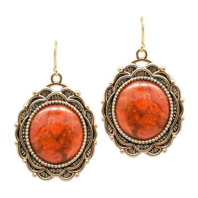 Artsmith By Barse Genuine Red Bronze Oval Drop Earrings
