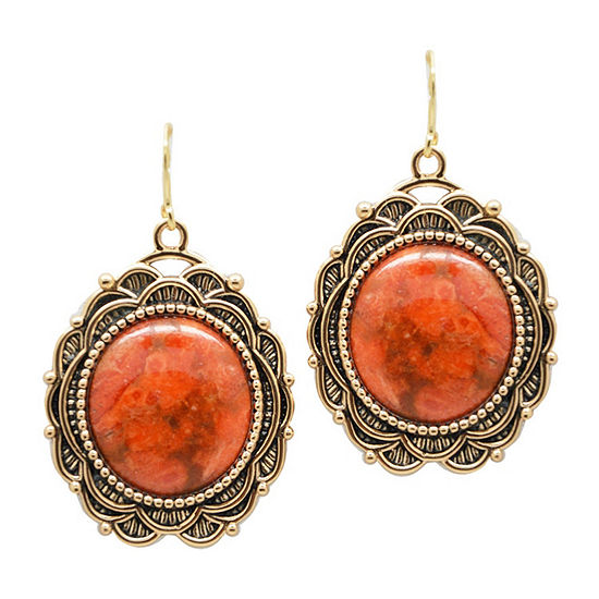 Artsmith By Barse Genuine Red Oval Drop Earrings