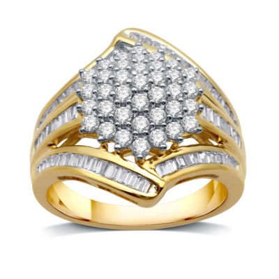 Womens 1 1/2 CT. T.W. Genuine White Diamond 10K Gold Cluster Ring