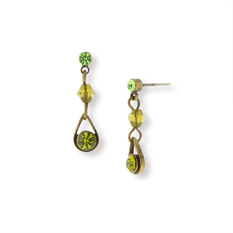 1920s Accessories: Feather Boas, Cigarette Holders, Flasks 1928 Vintage Inspirations Green Brass Drop Earrings Yellow $5.40 AT vintagedancer.com