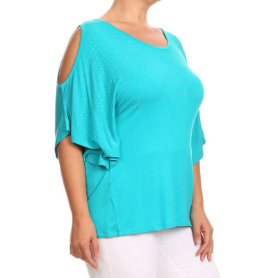 Kaily K. Short Sleeve Cold Shoulder Pullover - Plus