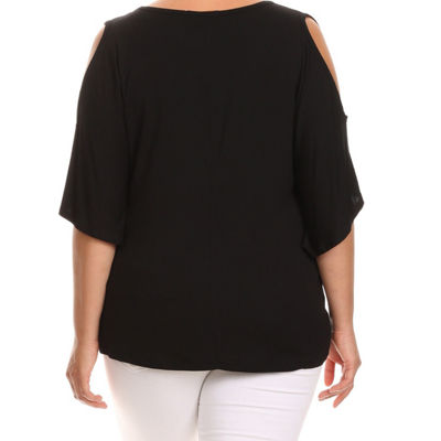 Kaily K. Short Sleeve Cold Shoulder Pullover - Plus