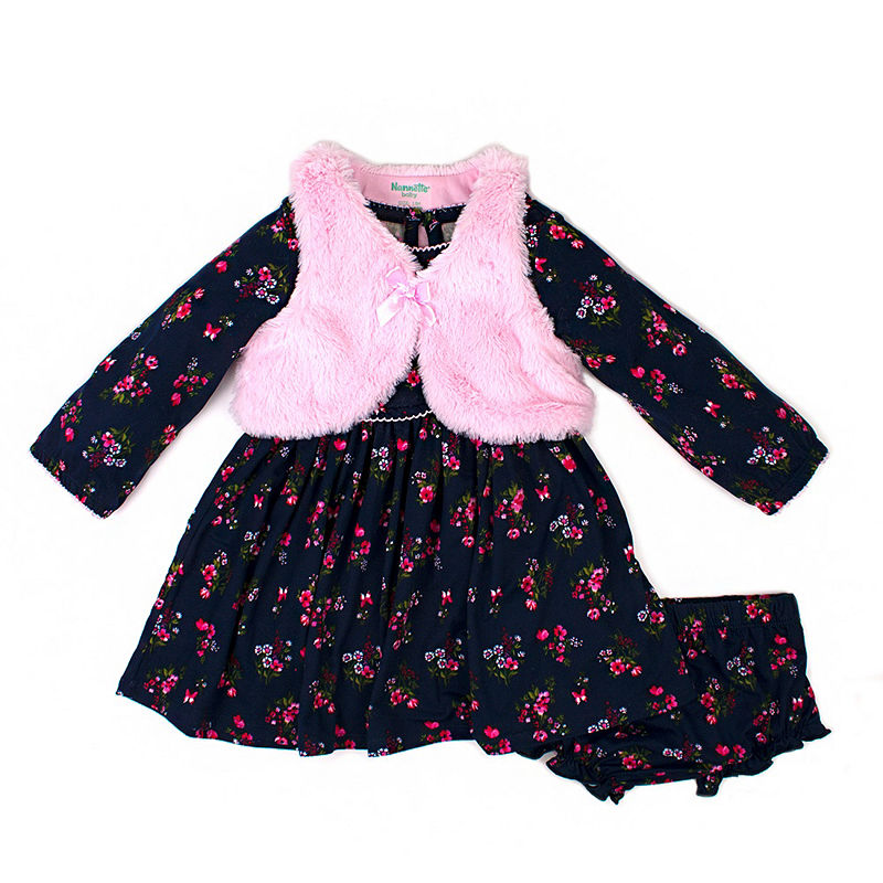Nanette Baby Long Sleeve Floral A-Line Dress, Girls, Navy, Size 6-9 Months